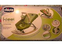 CHICCO I-FEEL MP3 ROCKING CRADLE LIME GREEN 0-9kg GREAT CLEAN & FULLY WORKING