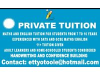 PRIVATE TUTOR MATHS AND ENGLISH