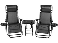 Sun Loungers Set of 2 Zero Gravity Chair Foldable with Side Table