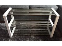 White and silver 3 tier shoe rack - great condition