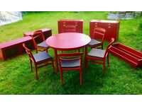 Original 60's Red Kitchen Units and Dining Set