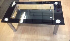 Modern Glass Crome Coffee Table Black Boarders