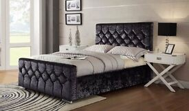 SAME DAY FAST DELIVERY: CRUSHED VELVET CHESTERFIELD DESIGNER BED-SINGLE DOUBLE KING SIZE AVAILABLE