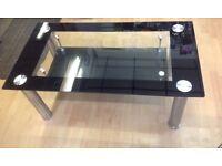 **BRAND NEW** Glass modern coffee table black & chrome legs