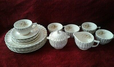 Lot 18 pc.American Limoges Sundale 22k Gold Filigree Scallops China