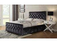 BRAND NEW DIAMOND TUFTED CRUSHED VELVET FABRIC HIGH HEADBOARD BED FRAME IN DOUBLE KING SIZE ON SALE