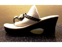 Wedges Thick Soled Sandals Black Beaded - like new