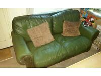 Green Leather Sofa and Chair FREE