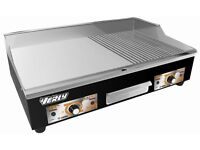 ELECTRIC GRIDDLE COMMERCIAL GRADE COUNTERTOP STAINLESS STEEL FLAT & GROOVED WITH A LARGE 730X400mm