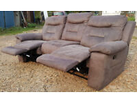 Recliner Suede Leather 3 Seater Sofa-Dark Grey. Local delivery available