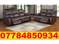 HIGH BACK LEATHER RECLINER 3+2 SOFA BROWN 687
