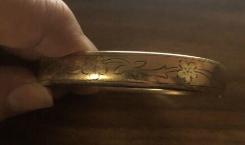 Vintage Edwardian Gold Filled Bangle Bracelet Floral Engraving Ripley & Gowen