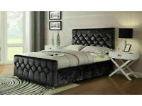 🔵💖🔴BEST QUALITY BRAND🔵💖🔴DOUBLE CHESTERFIELD BED CRUSHED VELVET FABRIC WITH MATTRESS OPTIONS