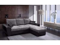 BRAND NEW ** LUXURY GIANI CORD FABRIC SOFA BED IN GREY/BLACK * ALSO AVAILABLE IN LEATHER