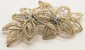 Swarovski Crystal Flower Beaded Bridal Comb in Silver