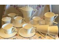 BEAUTIFUL WHITE TEA COFFEE SET