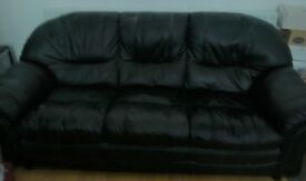 A Black Leather Settee