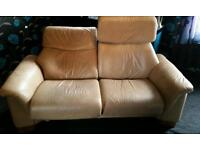 Cream Leather couch recliner