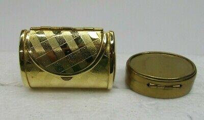 VTG Pair of Gold Tone Trinket Pill Boxes Purse & Box