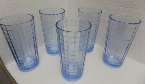 5 MCM Pasabahce Scotch Blue Optic Juice Glasses Beautiful! 5 inch tall