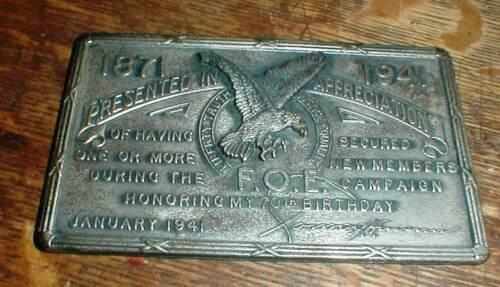 Vintage F.O.E Fraternal Order Eagles 1941 Birthday Appreciation Plate Plaque