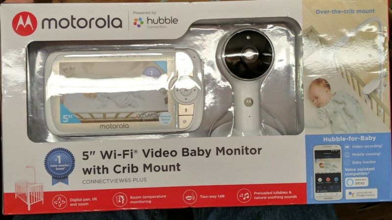 "Motorola 5"" Wi-Fi Video Baby Monitor with Crib Mount Connectview65 Plus - New"