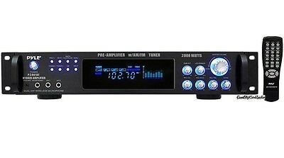 NEW Pyle P2001AT 2000W Home Stereo Receiver Amplifier AM/FM AUX MIC-In & Remote