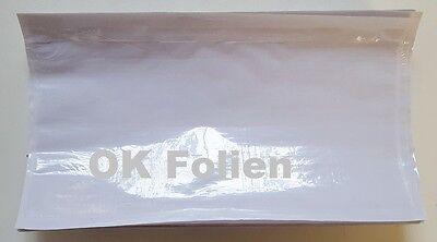250 Dokumententaschen DInlang 225x120mm Warenbegleitpapiertaschen unbedruckt