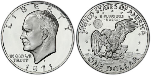 """1971 S Eisenhower Silver One Dollar $1 Proof """"IKE"""" Coin"""