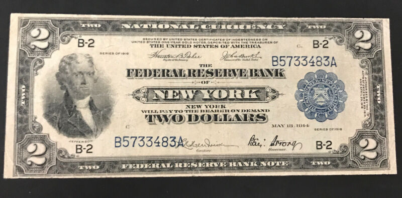 1918 2 federal reserve bank note Battleship, New York