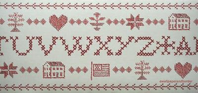 Ralph Lauren Americana Cross Stitch Letter Tree Hearts Flags Wallpaper Border