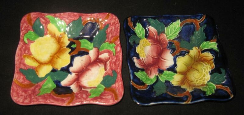 MALING Cobalt Red Bright Flowers 6500 6504 Pair of Antique Square Dishes, 4 1/4""