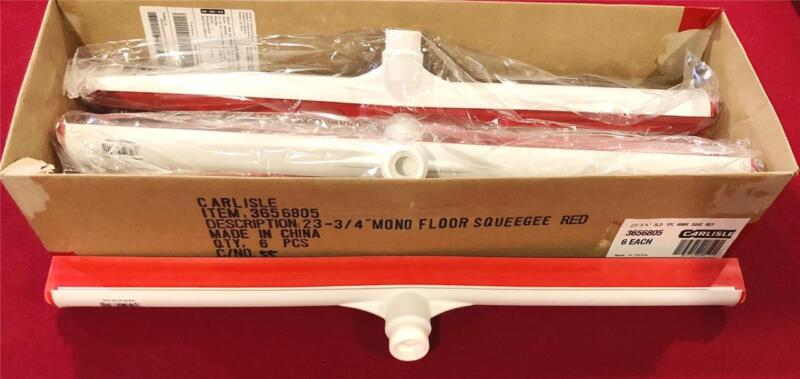 "CARLISLE 3656805 SINGLE RUBBER BLADE SQUEEGEE 24"" RED / WHITE ~ CASE of 6!"