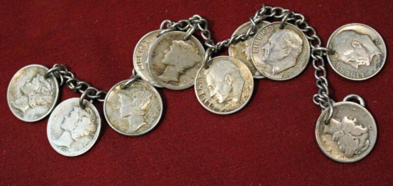 Vintage US Silver Mercury Roosevelt Dime Bracelet 10 Coins!
