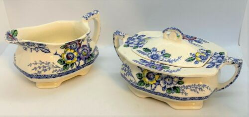 Alfred Meakin Blue MEDWAY Creamer & Covered Sugar, England, Dinnerware