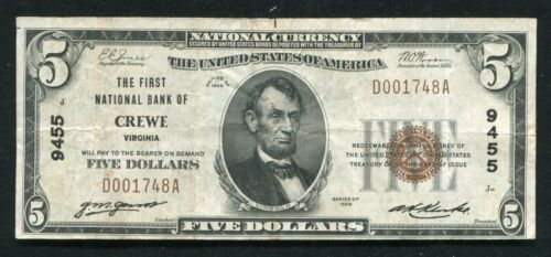 1929 $5 THE FIRST NATIONAL BANK OF CREWE, VA NATIONAL CURRENCY CH. #9455 VF