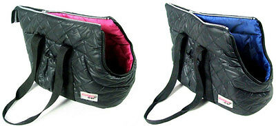 Designer Padded Quilted Nylon Dog Cat Pet Carrier Travel Bag Zip Lock Portable ()