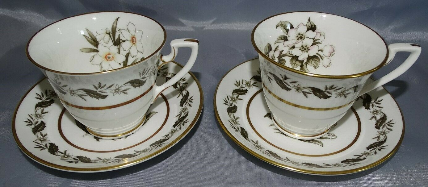 Royal Worcester England Bernina Set of 12 Demitasse Cups & 11 Matching Saucers