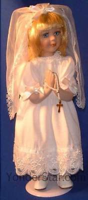First Holy Communion Gift Communion Doll w Rosary on Stand Blonde 40330