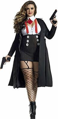 Party King Gangster Babe Mob Mafia Adult Plus Size Halloween Costume (Gangster Kostüm Plus)