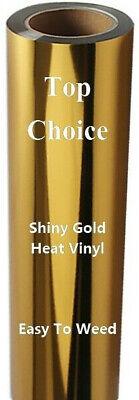Shiny Gold Heat Transfer Vinyl 1 Yard 3 Feet Free Shipping