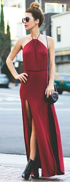 LOVERS + FRIENDS Smokin' Hot Slit Maxi Dress Red SZ M