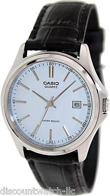 Casio Mens Mtp1183e 7A Genuine Leather Casual Classic Dress Watch White Dial New