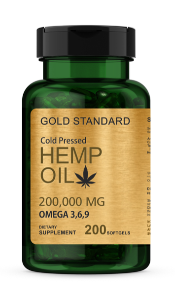 Hemp Oil Capsules | 200,000 mg Per Bottle | 200 Softgels | Max Potency | Non-GMO
