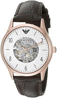 EMPORIO ARMANI 43mm Men's AR1920 Dress Brown Leather Rose Gold Watch