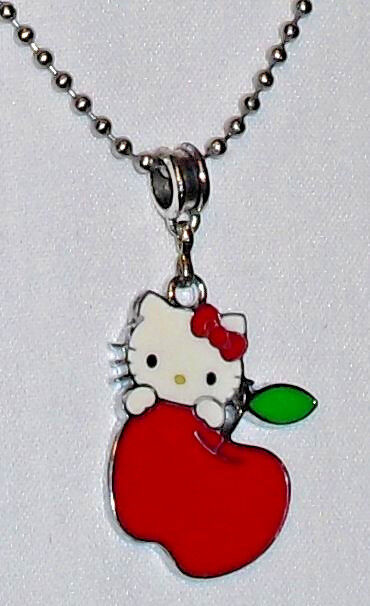 Hello Kitty Red Apple Charm with Sanrio on the backs Stainless Steel Ball Chain
