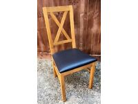 Set of 6 Oak Finish & Leather Seat Dining Chairs - Worth £270!