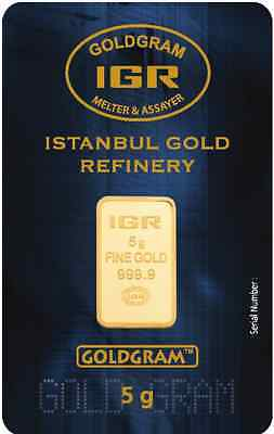 5 G Gram 999.9 24K Istanbul Gold Refinery Bar IGR With Certificate
