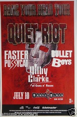 QUIET RIOT /FASTER PUSSYCAT /BULLET BOYS/GILBY CLARKE 2014 SAN DIEGO TOUR POSTER
