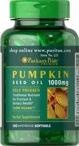 Pumpkin Seed Oil 1000 mg x 100 Softgels ** FAST DELIVERY* PURITANS PRIDE PREMIUM